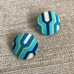 Blue & Green Geometric Button Stud Earrings